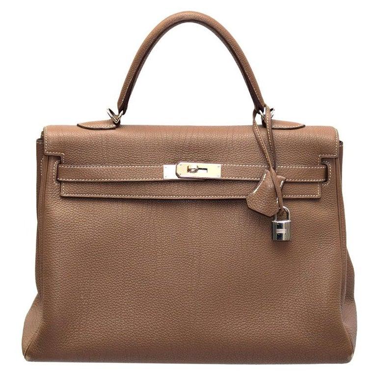 Hermes Etoupe Togo Leather Palladium Hardware Kelly Retourne 35 Bag For Sale