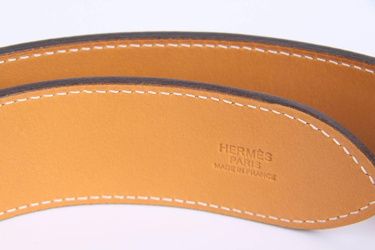 Women's or Men's Hermes Etriviere 40 Unisex Taurillon Clemence Belt - taupe For Sale