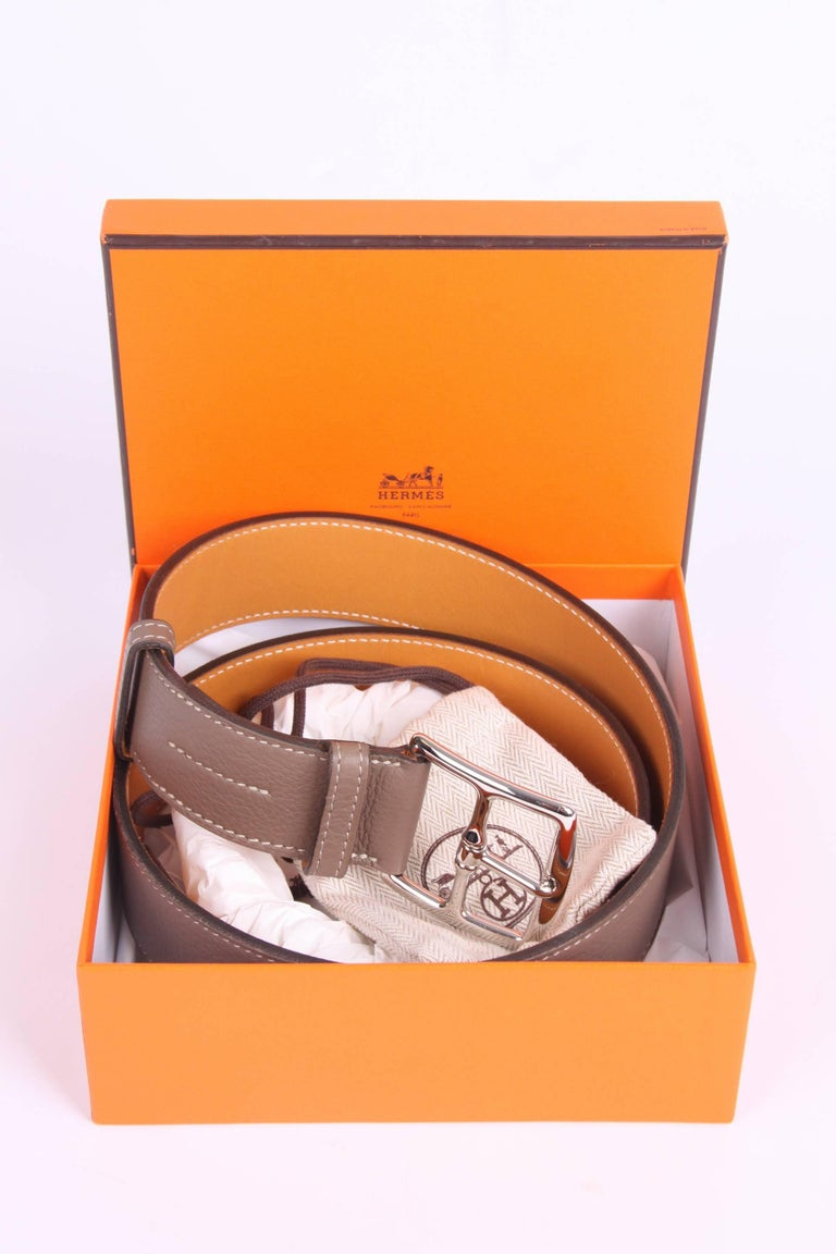 Hermes Etriviere 40 Unisex Taurillon Clemence Belt - taupe For Sale 1