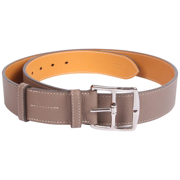 Hermes Etriviere 40 Unisex Taurillon Clemence Belt - taupe For Sale