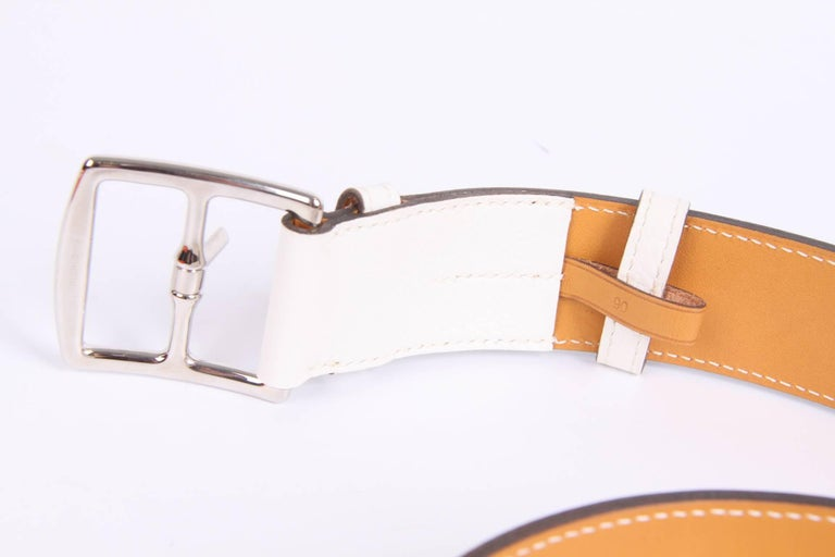 Hermes Etriviere 40 Unisex Taurillon Clemence Belt - white In New Condition For Sale In Baarn, NL