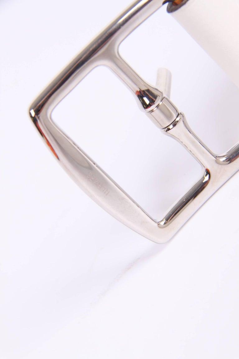 Women's or Men's Hermes Etriviere 40 Unisex Taurillon Clemence Belt - white For Sale