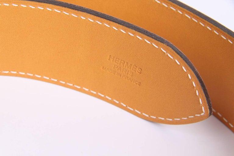 Hermes Etriviere 40 Unisex Taurillon Clemence Belt - white For Sale 1