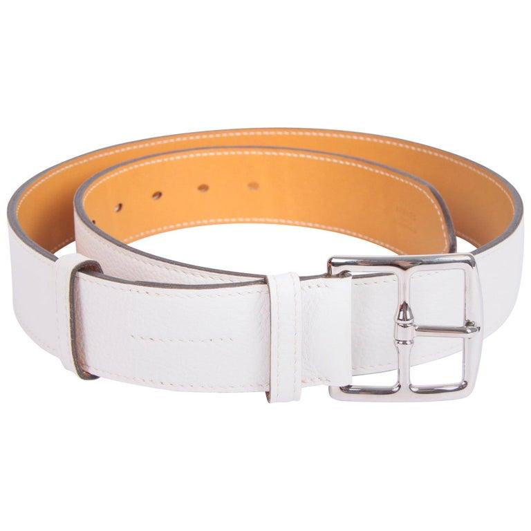 Hermes Etriviere 40 Unisex Taurillon Clemence Belt - white For Sale