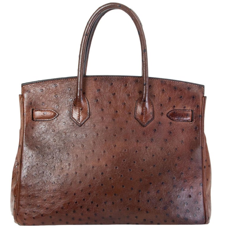 Brown HERMES Etrusque brown OSTRICH & palladium BIRKIN 30 Bag For Sale