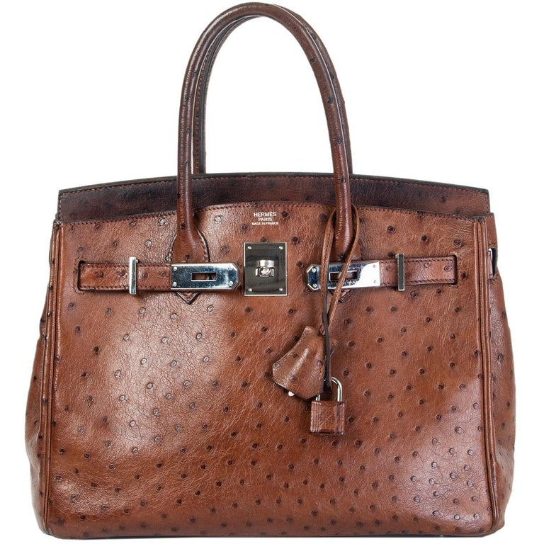 Women's HERMES Etrusque brown OSTRICH & palladium BIRKIN 30 Bag For Sale