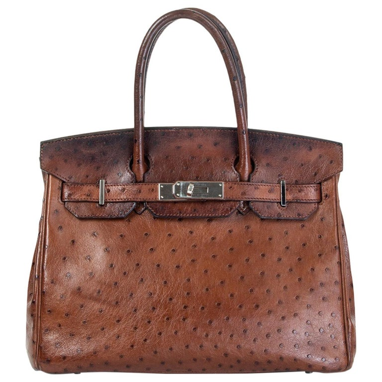 HERMES Etrusque brown OSTRICH & palladium BIRKIN 30 Bag For Sale