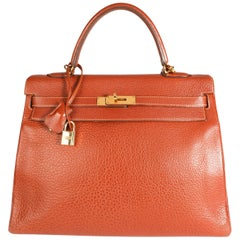 Hermès Etrusque Buffalo Leather Retourne Kelly 35 GHW