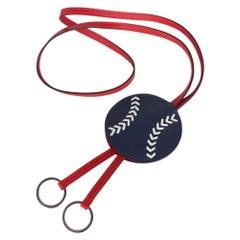 Hermes Etui Cles Baseball Key Holder Blue De Malte / Rouge/ White New