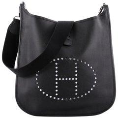Hermès Evelyne 12he0103 Black Leather Messenger Bag