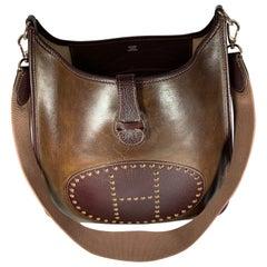Hermes Evelyne Brown Leather Crossbody / Shoulder Bag Vintage