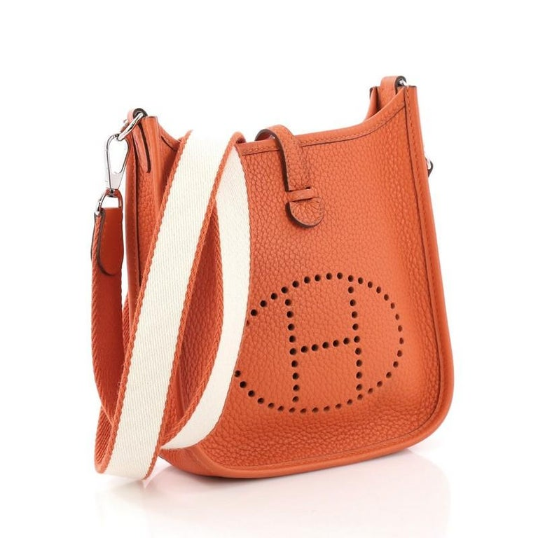Orange Hermes Evelyne Crossbody Gen III Clemence TPM For Sale