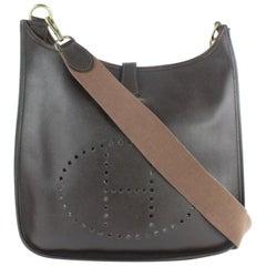 Hermès Evelyne Dark 6hz1220 Brown Leather Messenger Bag