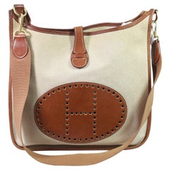 Hermes Evelyne GM Beige Canvas and Brown Grained Leather