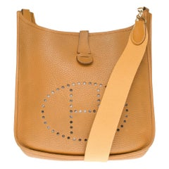 Hermes Evelyne GM Crossbody with strap in Taurillon gold Leather