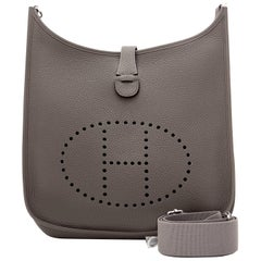 Hermes Evelyne GM Etain Grey Cross Body Messenger Bag Unisex NEW