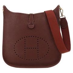 """HERMES """"Evelyne I"""" 2002 Havane Clemence Leather Perforated Logo Shoulder Bag PM"""
