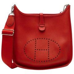 Hermès Evelyne III PM Bag in Vermiliion Clémence Leather PHW