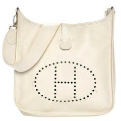 Hermès Evelyne Messenger 870089 White Leather Shoulder Bag