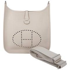 Hermes Evelyne PM Bag Beton Palladium Hardware Clemence Leather New w/Box