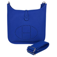 Hermes Evelyne PM Bag Blue Zellige Clemence Palladium Hardware New w/Box