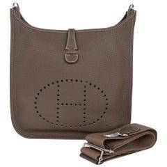 Hermes Evelyne PM Bag Etoupe Clemence Palladium Hardware New w/Box