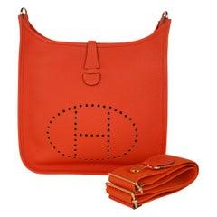 Hermes Evelyne PM Bag Feu Gold Hardware Clemence Leather