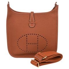 Hermes Evelyne PM Bag Gold Clemence Gold Hardware New w/Box