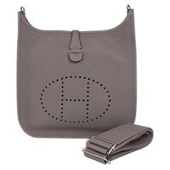 Hermes Evelyne PM Bag Gris Asphalte Palladium Hardware New w/Box