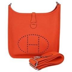 Hermes Evelyne PM Bag Feu Crossbody Clemence Leather Palladium Hardware