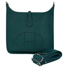 Hermes Evelyne PM Bag Malachite Clemence Leather Palladium Hardware New w/Box