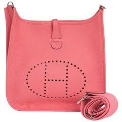 Hermes Evelyne PM Bag Rose Azalee Palladium Hardware Clemence Leather New w/Box