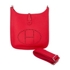 Hermes Evelyne PM Bag Rouge Casaque Clemence Palladium Hardware