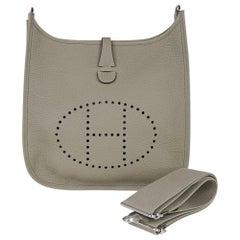 Hermes Evelyne PM Bag Sage Crossbody Clemence Leather Palladium Hardware