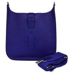 Hermes Evelyne PM Bag Sellier Blue Electric Palladium Hardware New w/Box