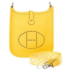 Hermes Evelyne TPM Amazone Bag Jaune De Naples Clemence Palladium Hardware