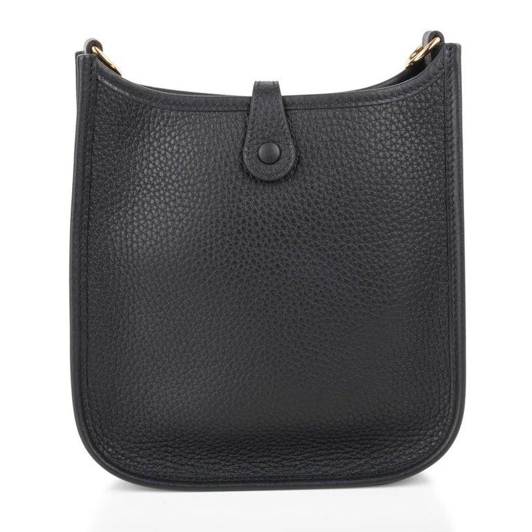 Hermes Evelyne TPM Bag Black Clemence Gold Hardware For Sale 6