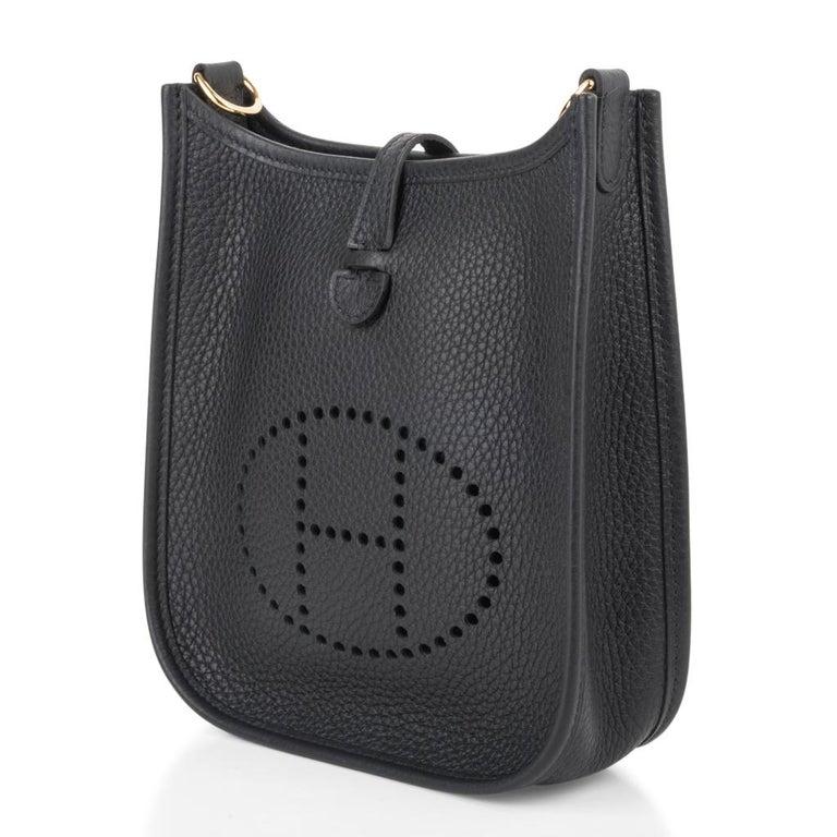 Women's Hermes Evelyne TPM Bag Black Clemence Gold Hardware For Sale