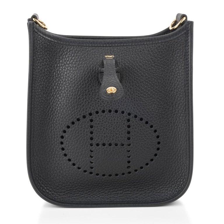 Hermes Evelyne TPM Bag Black Clemence Gold Hardware For Sale 1