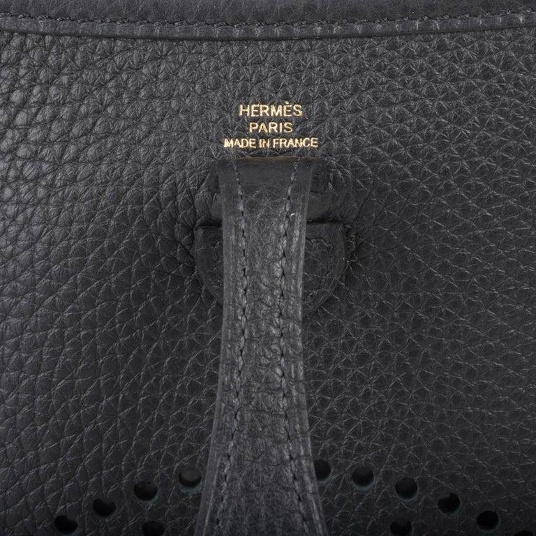 Hermes Evelyne TPM Bag Black Clemence Gold Hardware For Sale 2
