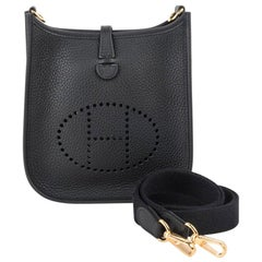 Hermes Evelyne TPM Bag Black Clemence Gold Hardware