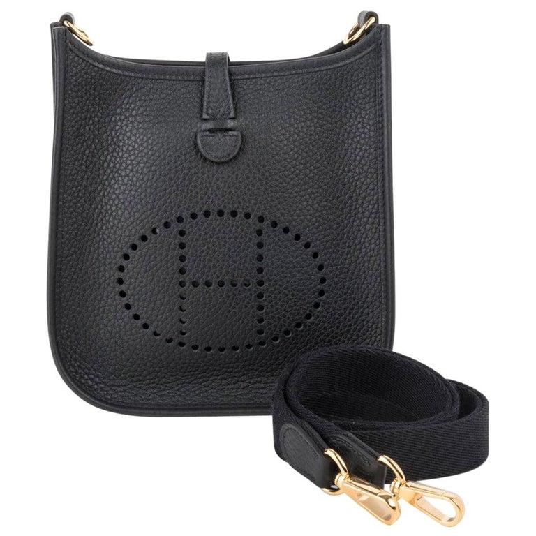 Hermes Evelyne TPM Bag Black Clemence Gold Hardware For Sale