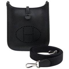 Hermes Evelyne TPM Bag Black Clemence Palladium