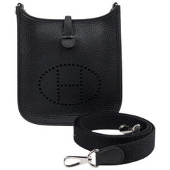 Hermes Evelyne TPM Bag Black Clemence Palladium Hardware