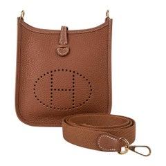 Hermes Evelyne TPM Bag Gold Clemence w/ Gold Hardware New w/ Box