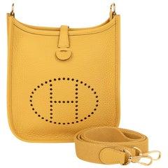 Hermes Evelyne TPM Bag Jaune Ambre Clemence Leather Gold Hardware