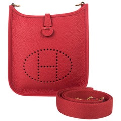 Hermes Evelyne TPM Bag Rouge Casaque Clemence Leather Gold Hardware
