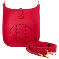 Hermes Evelyne TPM Bag Rouge Piment Taurillon Maurice Leather Gold Hardware