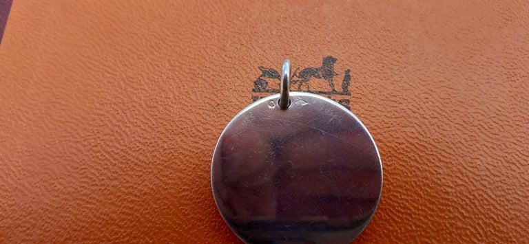 Hermès Ex Libris Pattern Pendant For Necklace Sterling Silver GM  For Sale 4