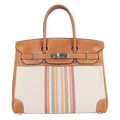 HERMES Fauve Barenia leather Toile H GANGES BIRKIN 30 Tote Bag